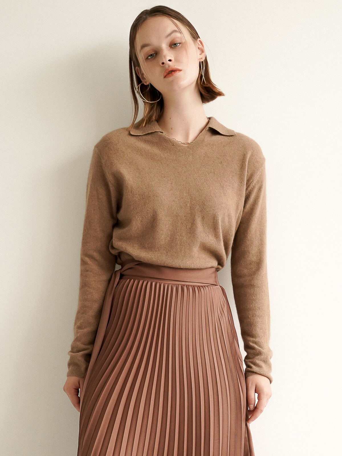 Lauren Collar Knit Top_Brown