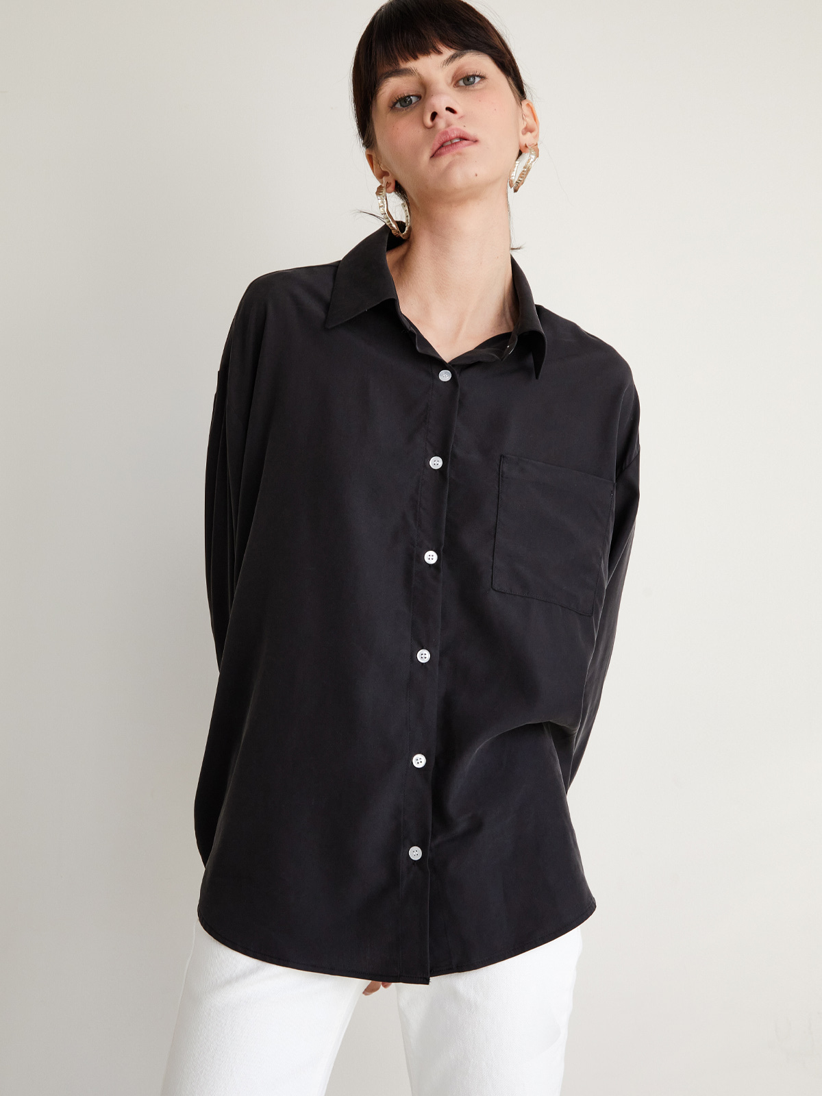Jane Collar Shirt Blouse_Black