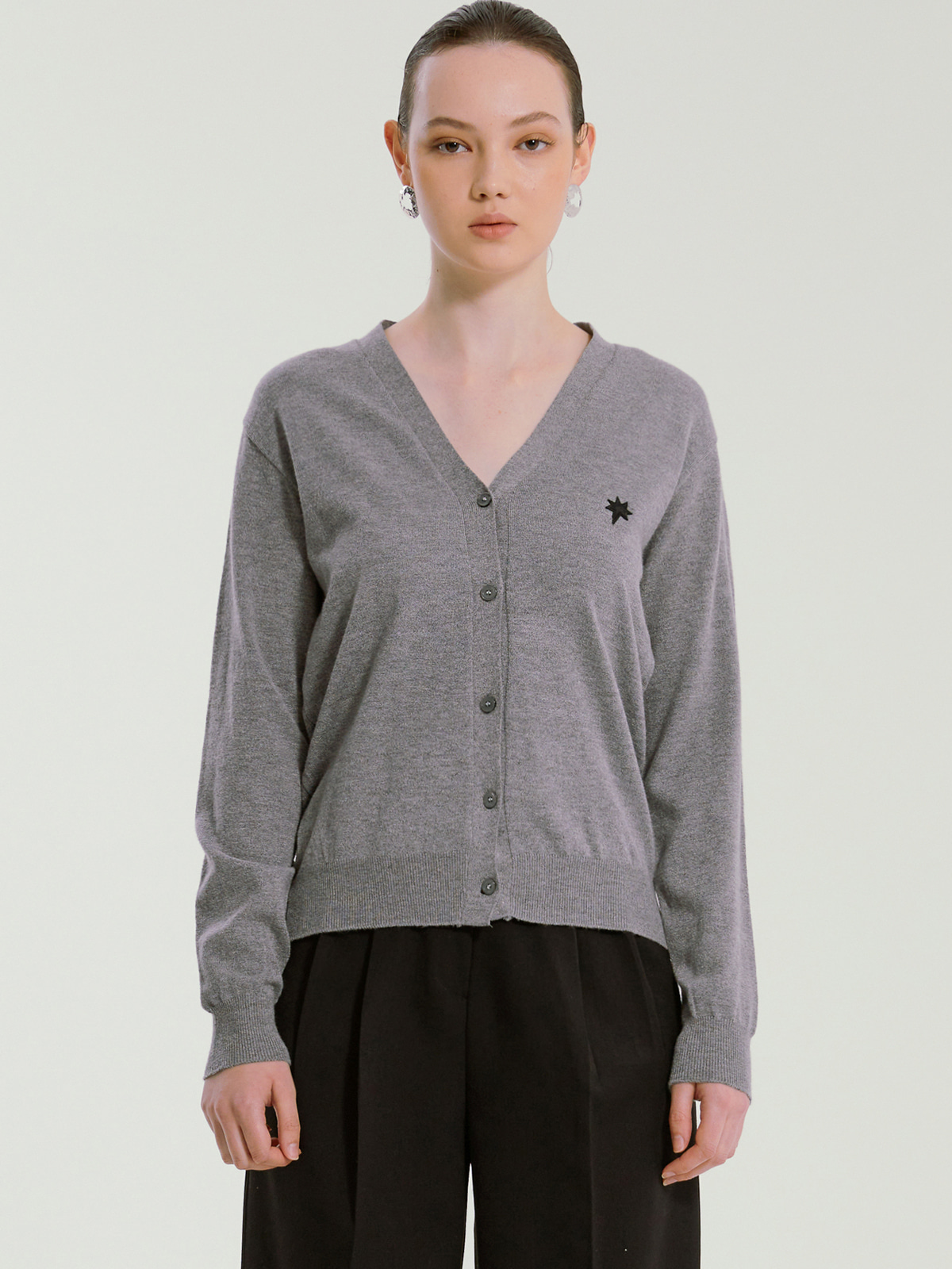 Rhea Cashmere Blended Cardigan_Grey