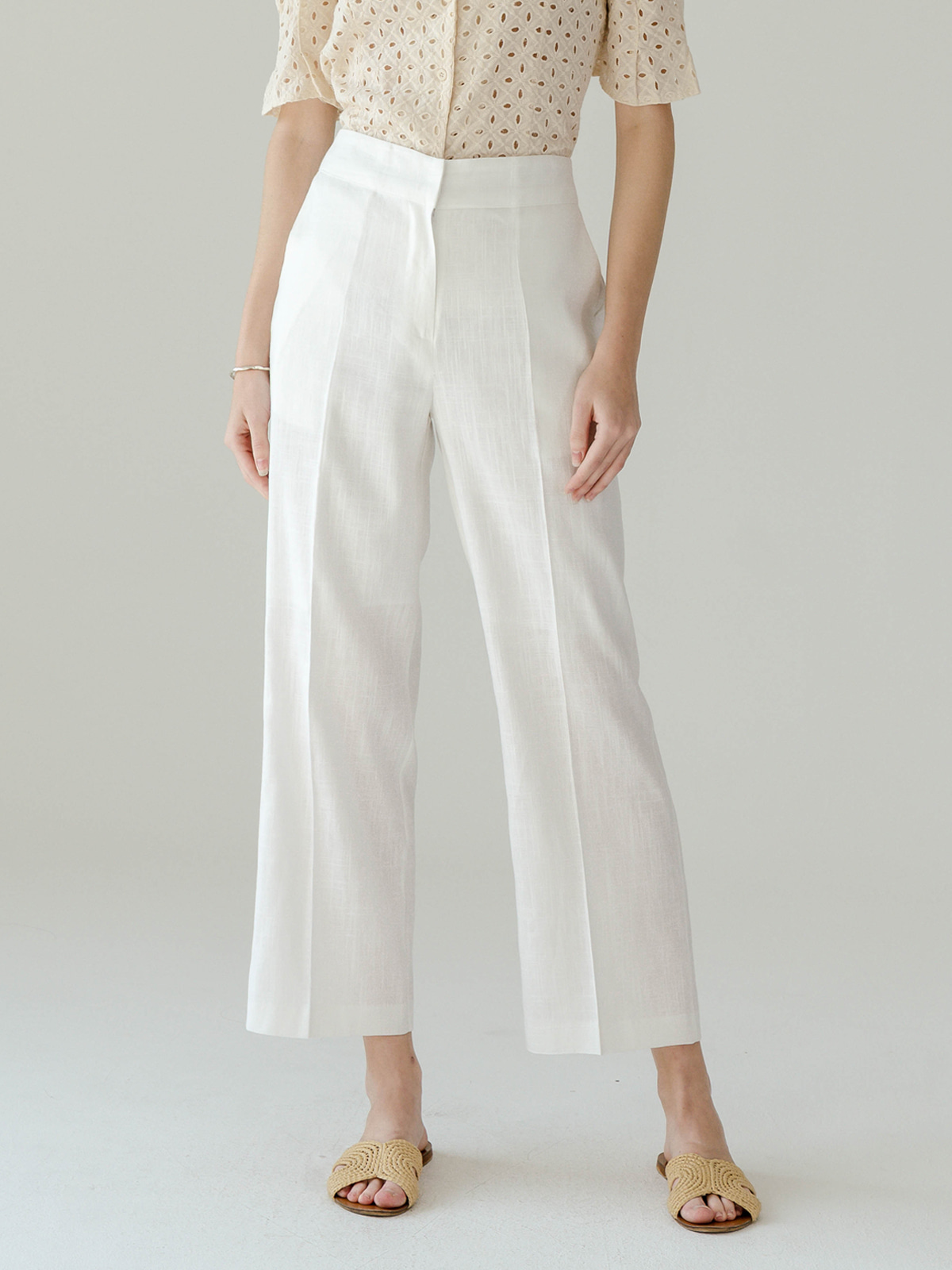 Rosie Linen Long Pants_White