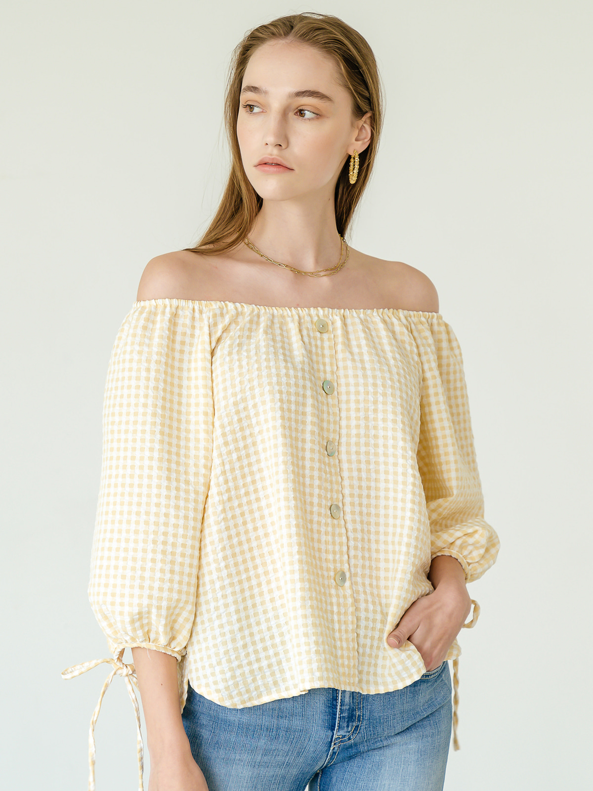 Bella Off Shoulder Blouse_Yellow