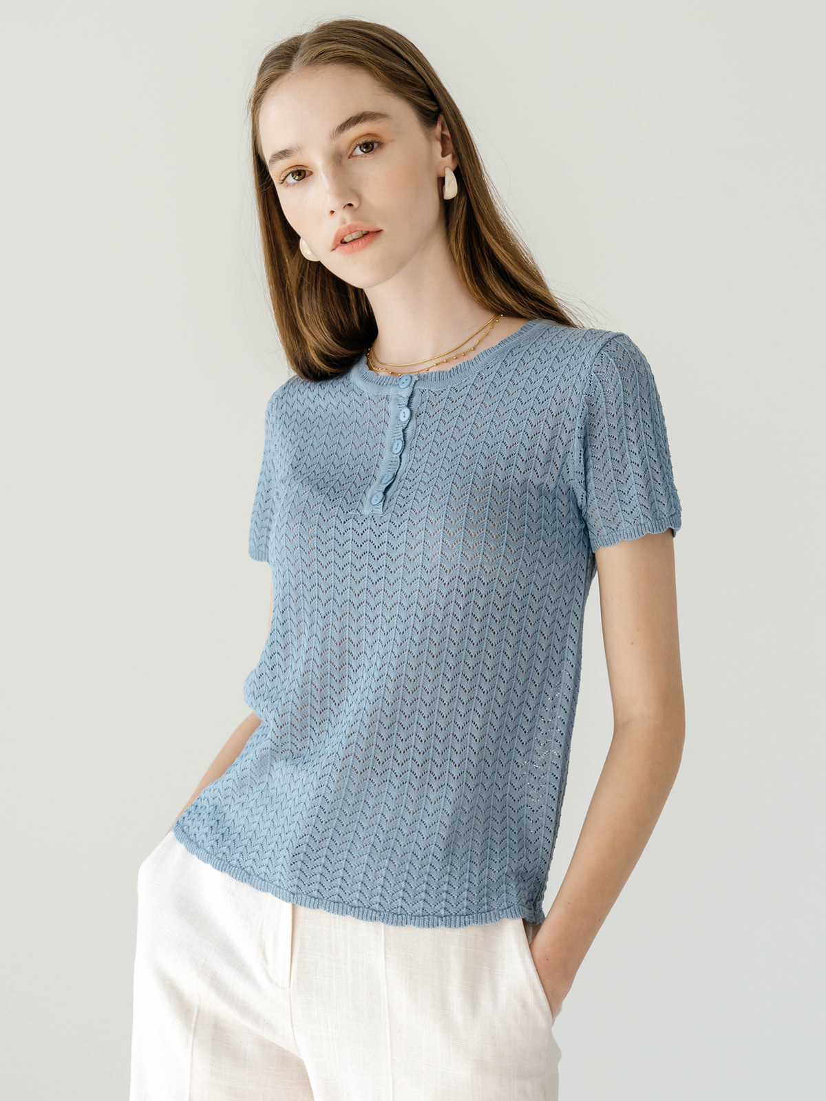 Mollie Half Sleeve Knit Top_Sky