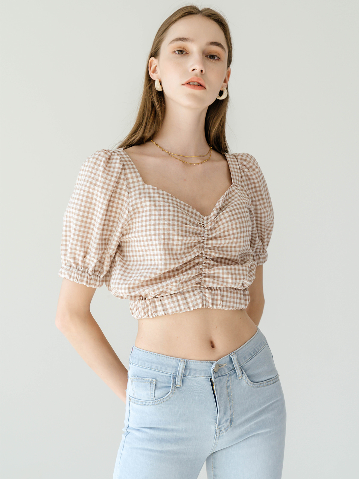 Sandra Puff Crop Blouse_Brown