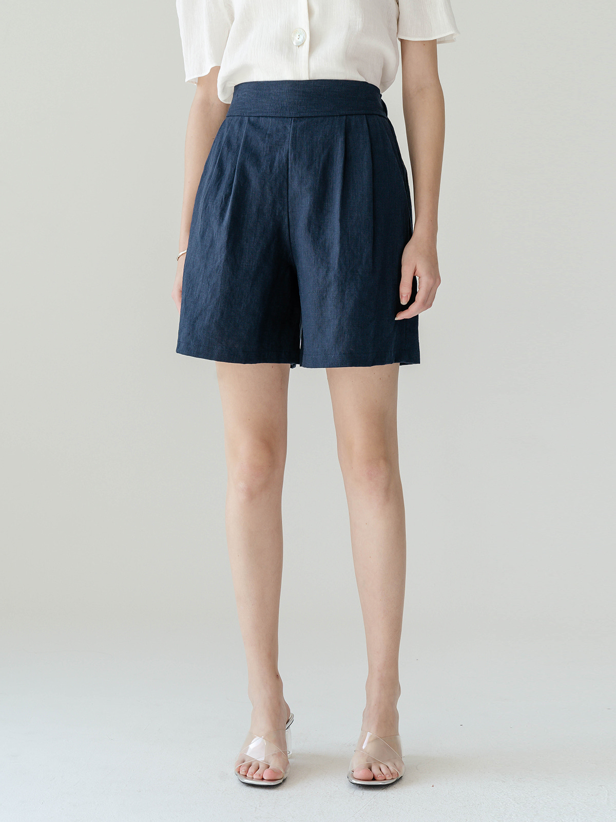 Blaire Linen Short Pants_Navy