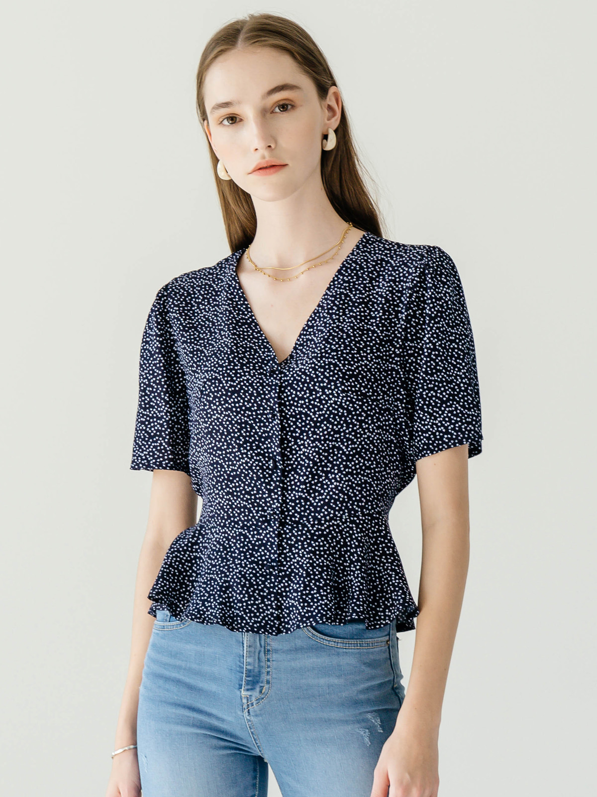 Juliette Flare Blouse_Navy