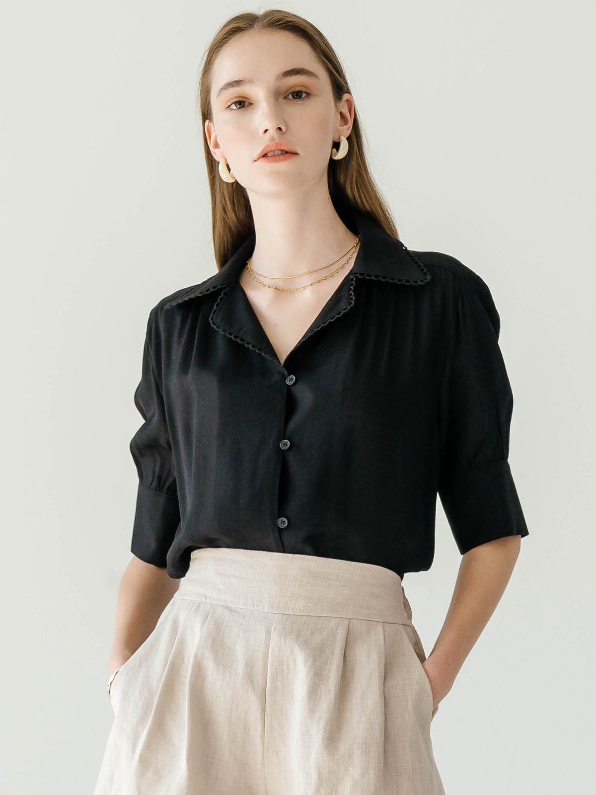 Marina Shirt Blouse_Black