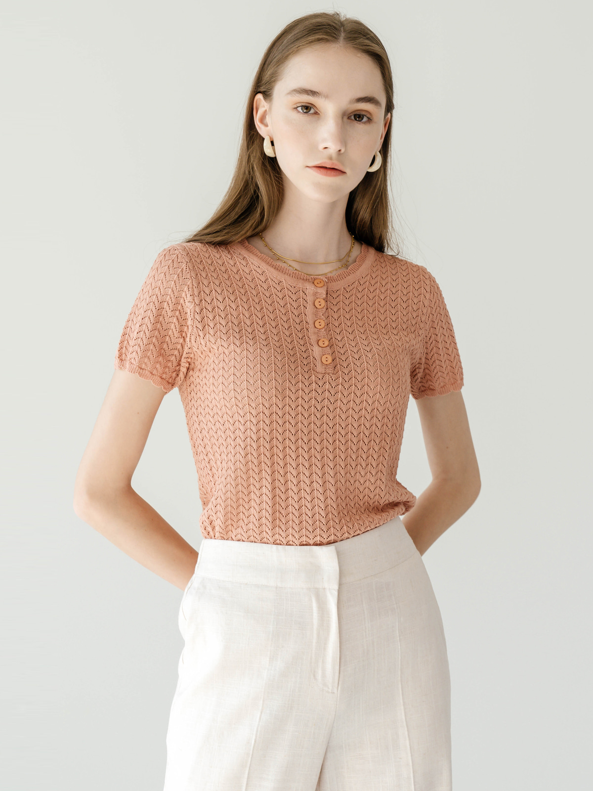 Mollie Half Sleeve Knit Top_ Peach