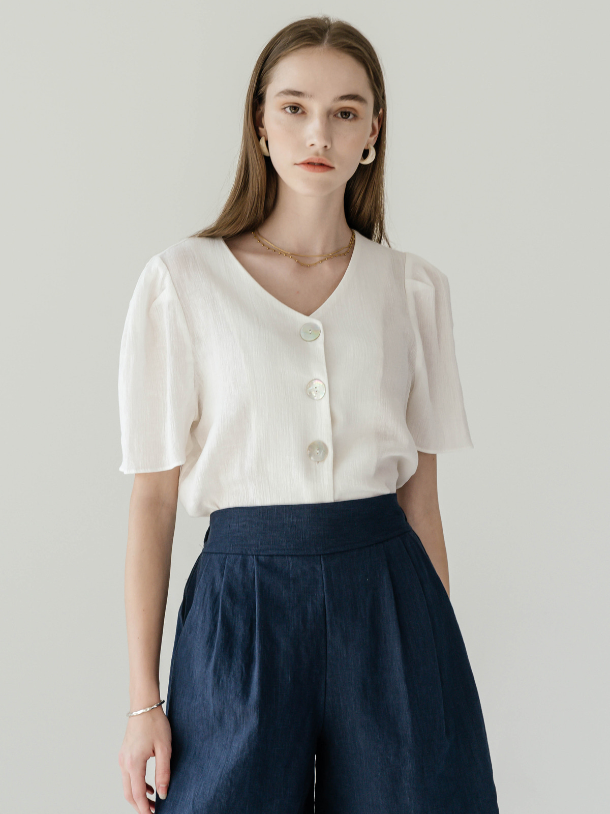 Oliver Button Puff Blouse_White