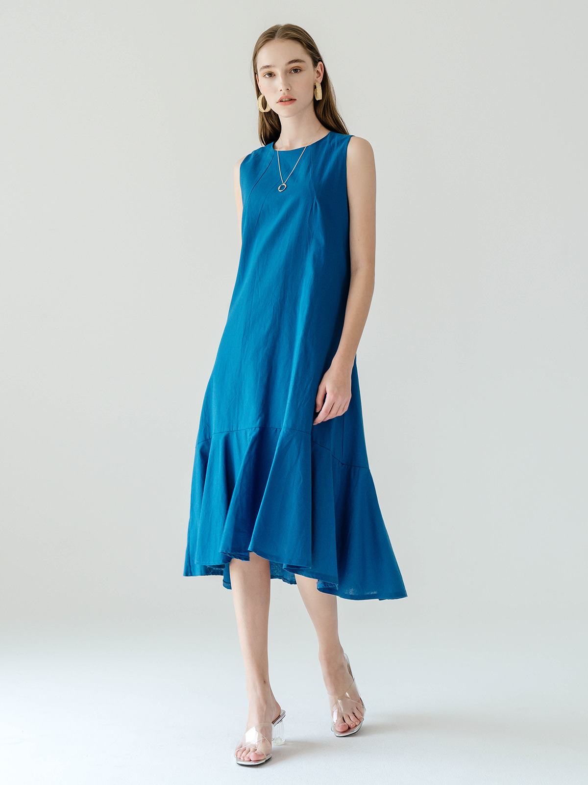 Kelly Linen Flare Dress_Blue