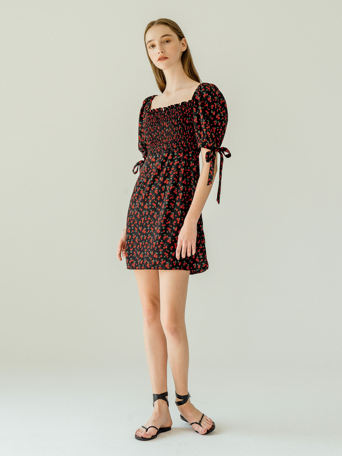 Cherry Shirring Mini Dress