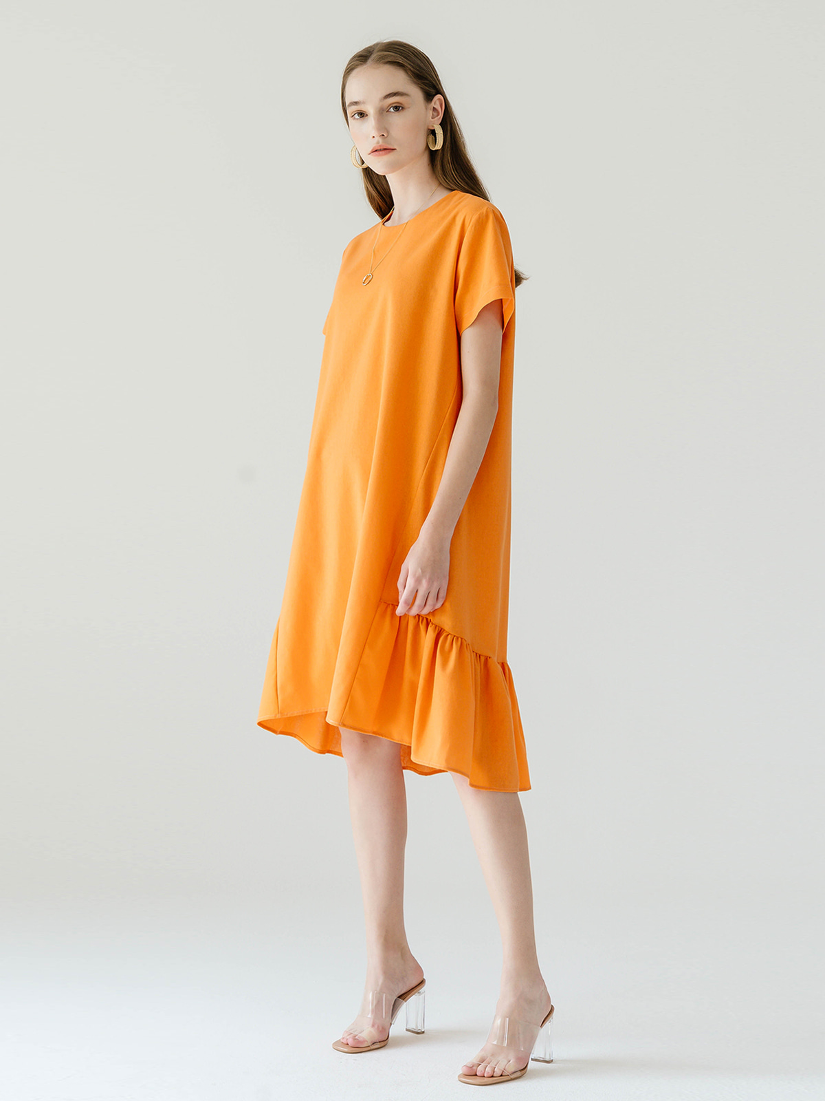 Linda Linen Frill Dress_Orange