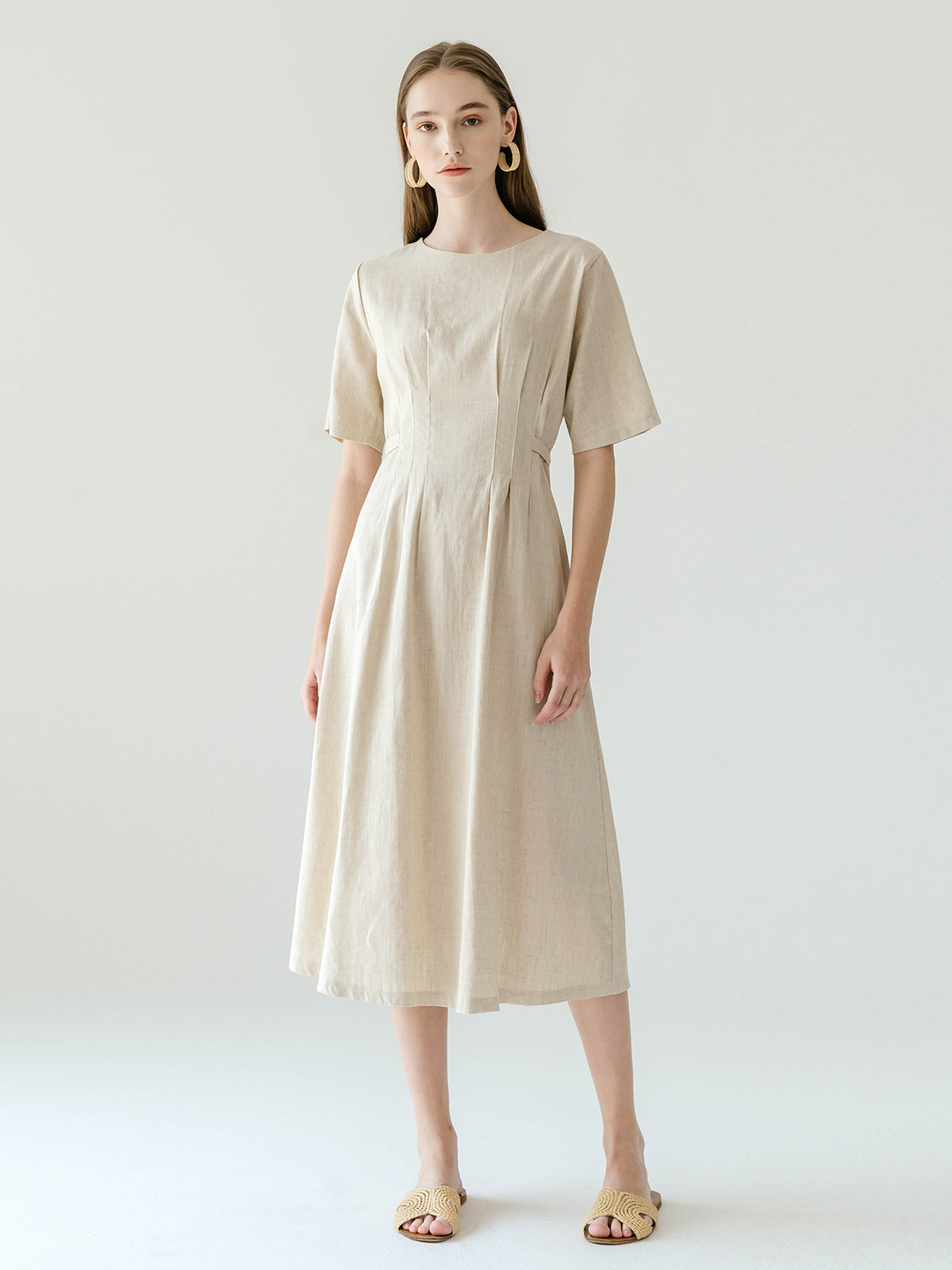 Jesse Linen Long Dress_Beige