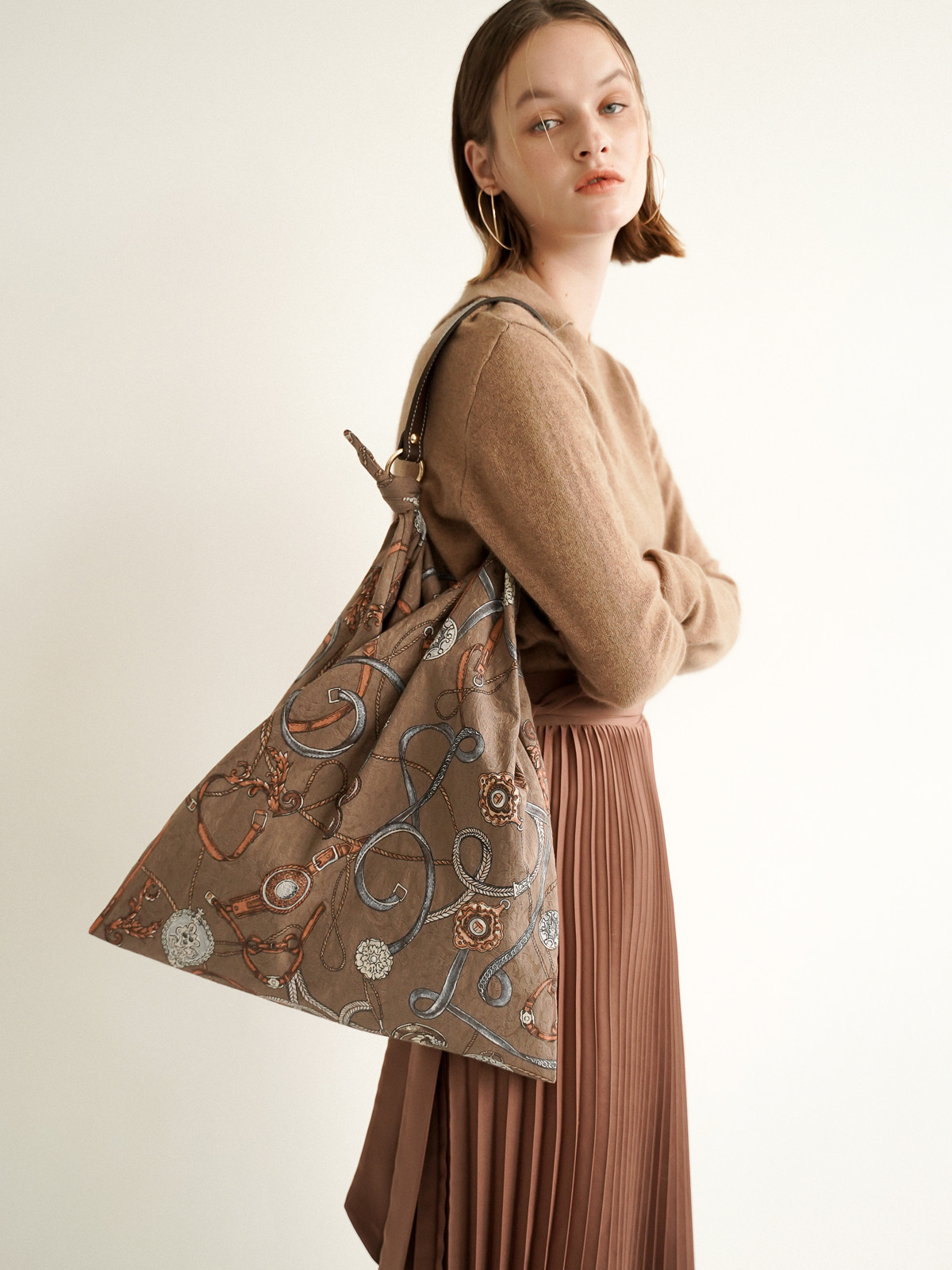 Jude Jacquard Scarf Bag_Brown