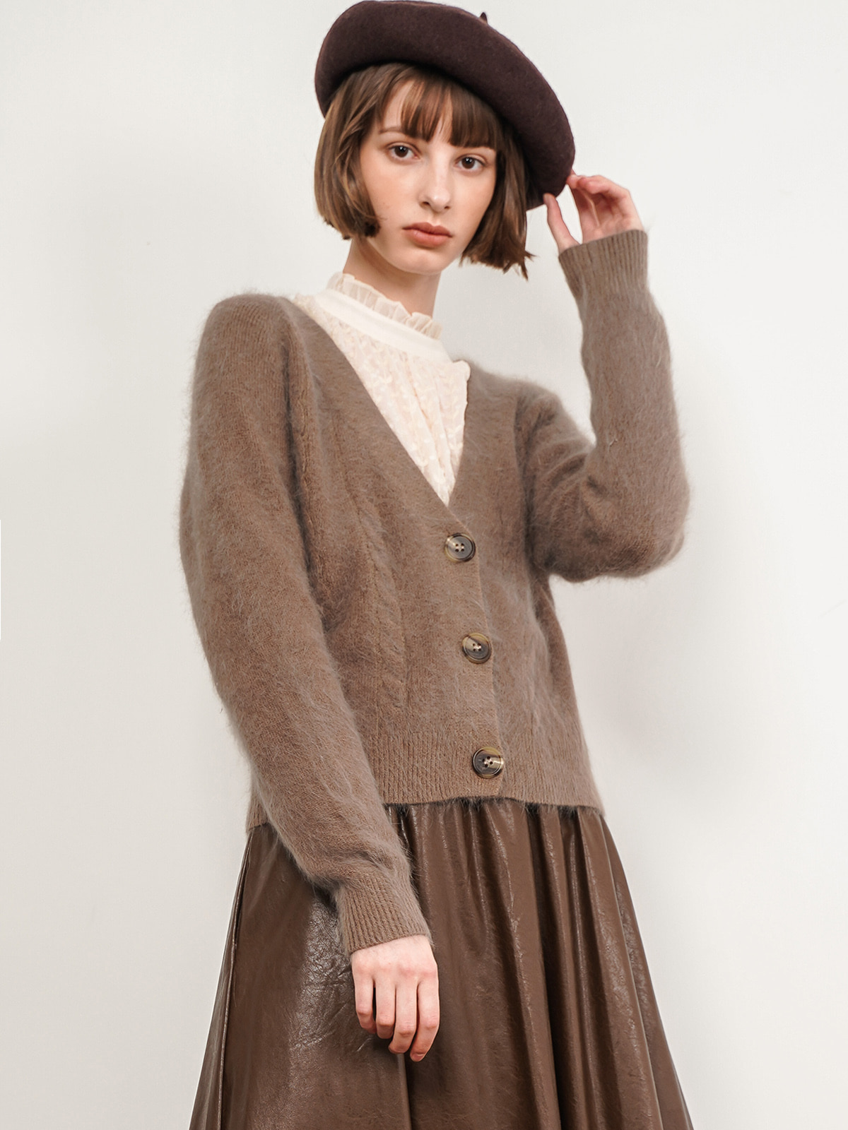 Rachel Angora Cardigan_ Brown