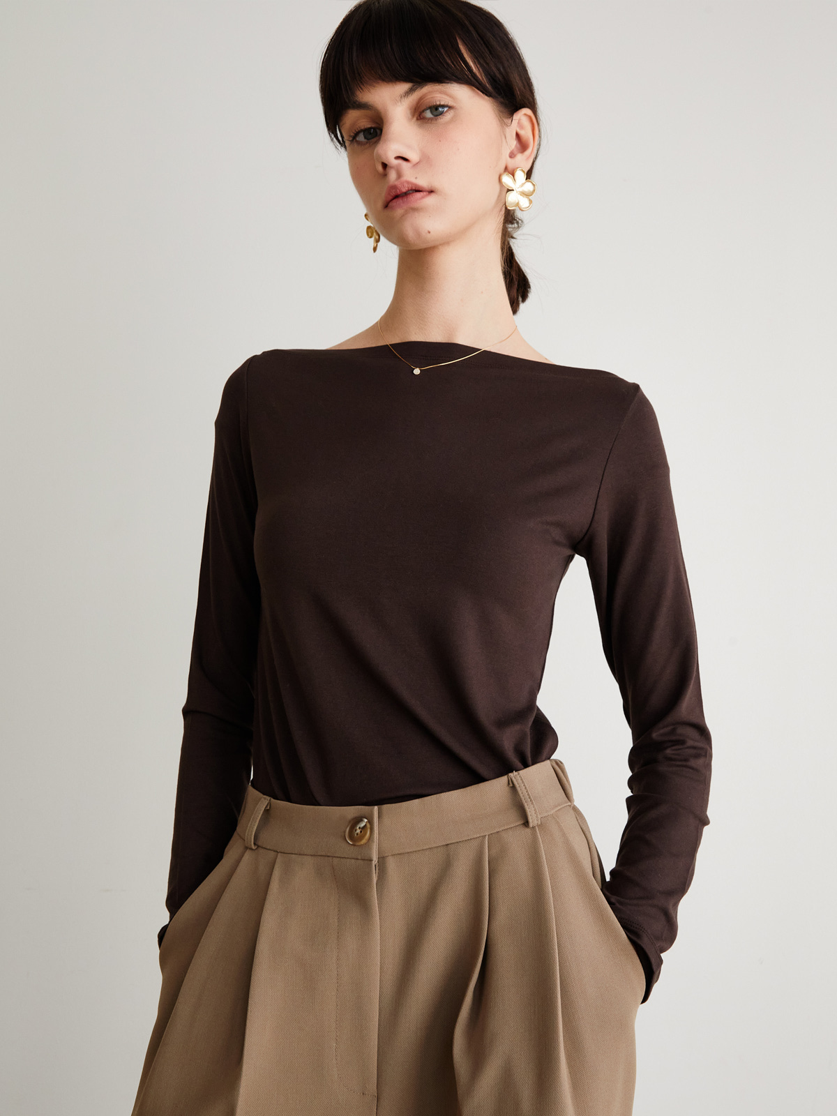 Marine Long Sleeve T-Shirts_Brown