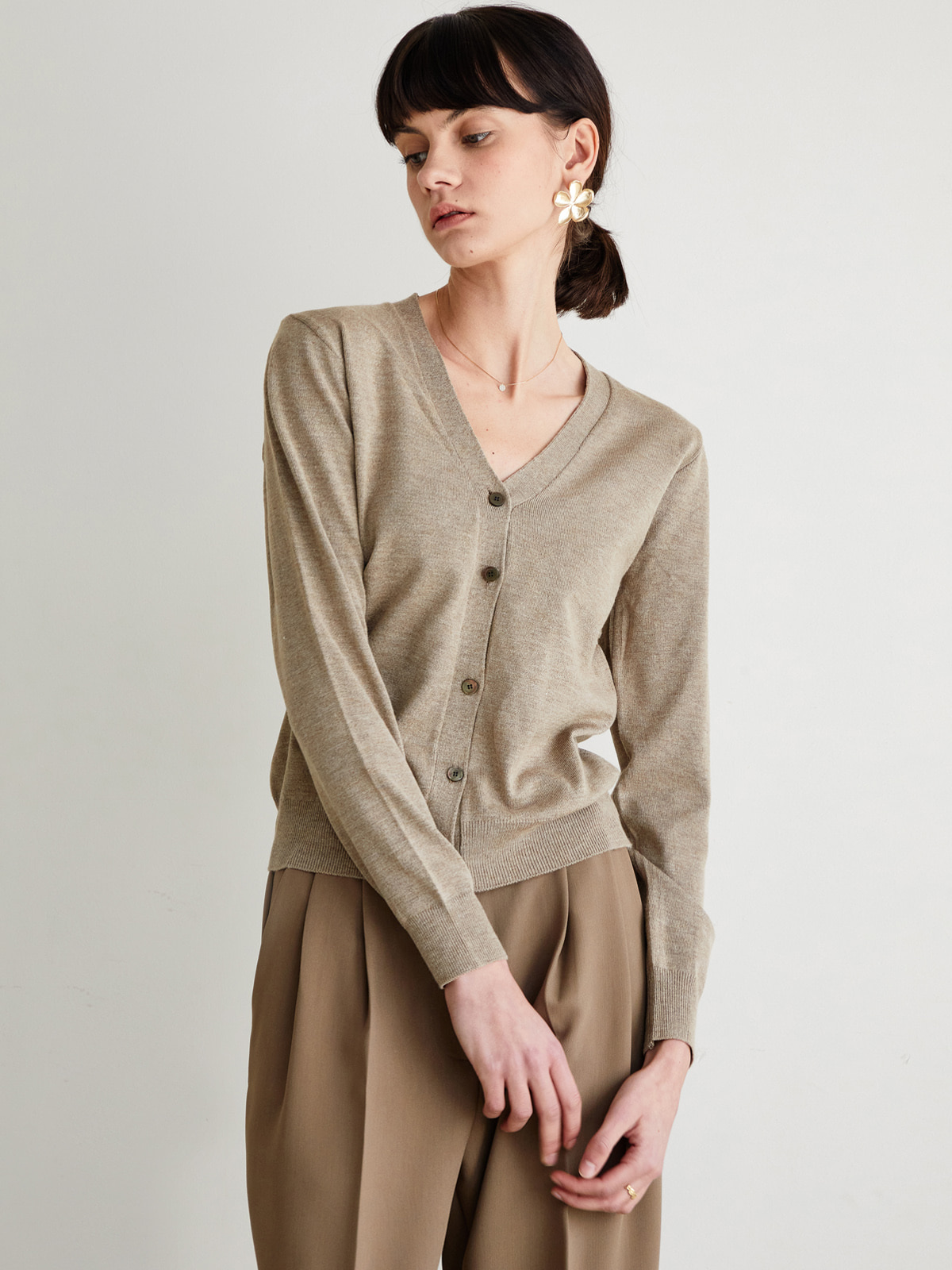 Rhea Cashmere Cardigan_Brown