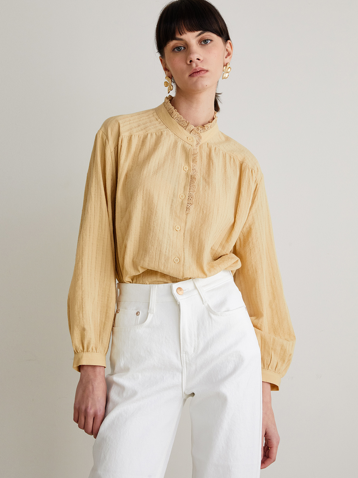 Audrey Frill Blouse_Yellow