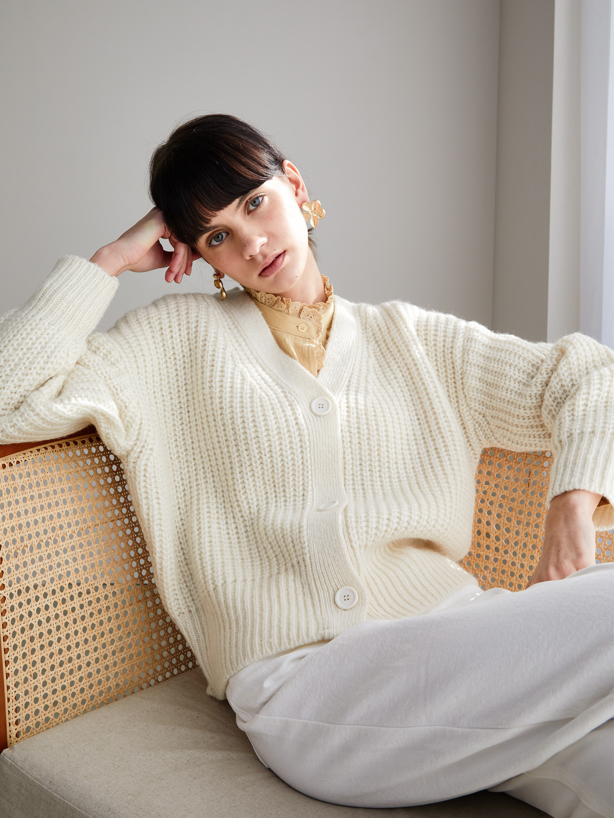 Betty Alpaca Cardigan_Ivory