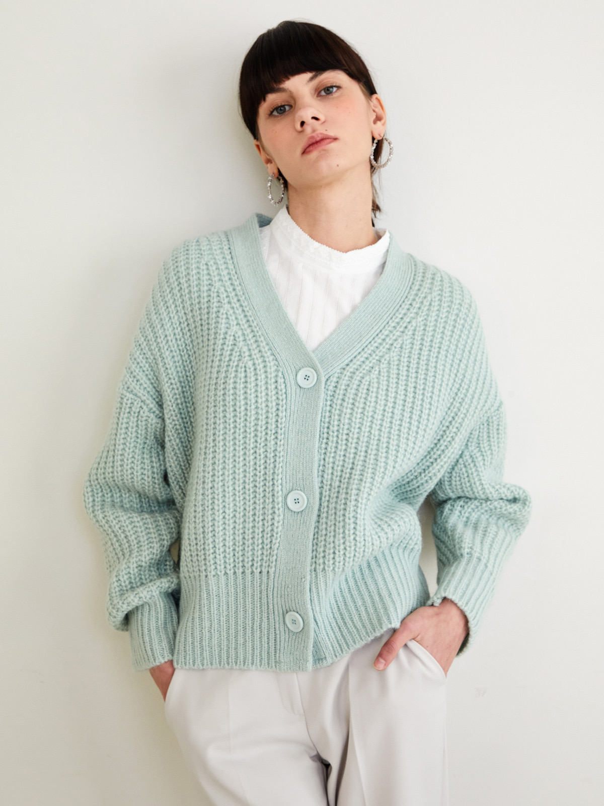 Betty Alpaca Cardigan_Mint