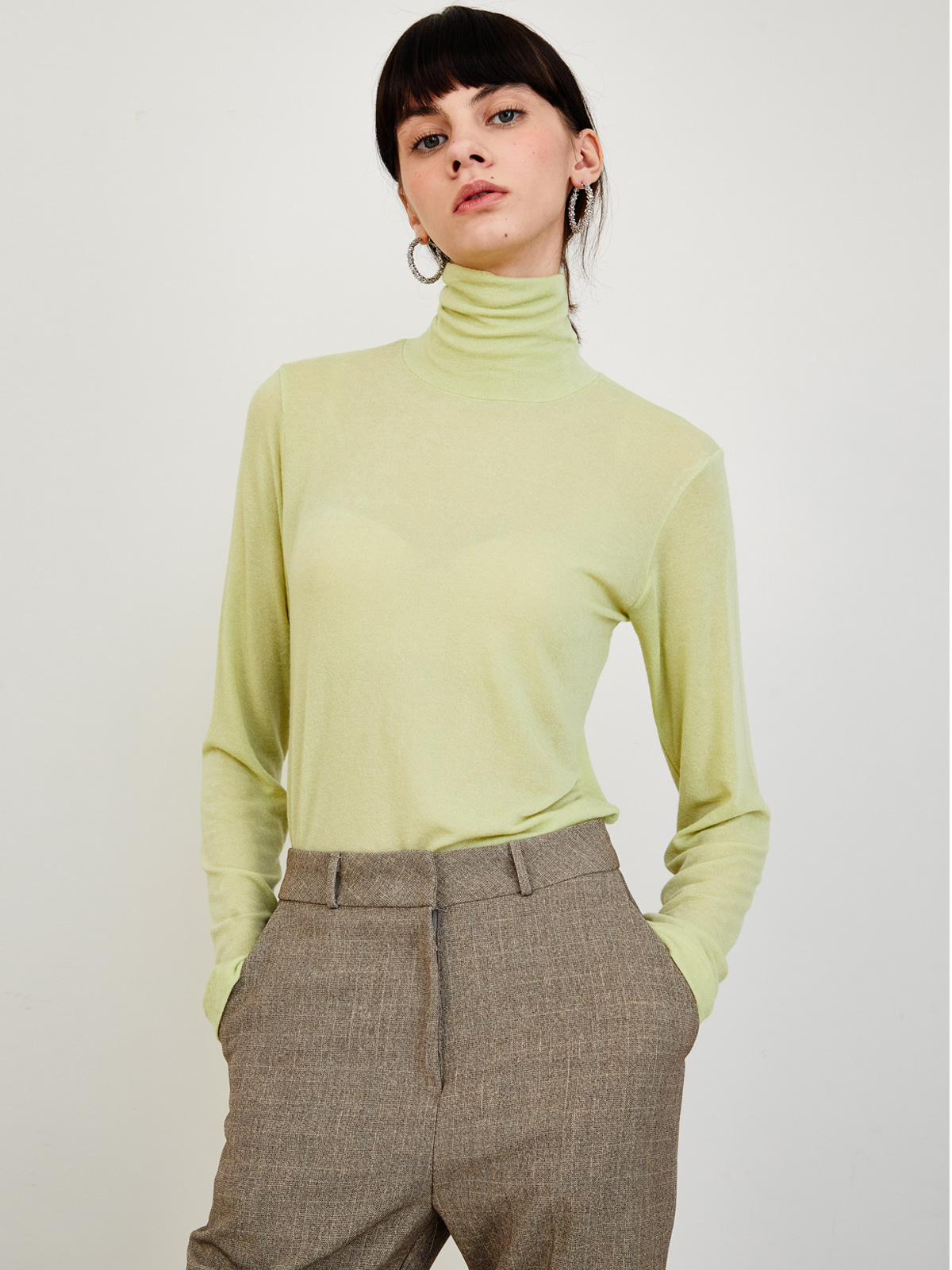 Janet Stretch Wool Turtleneck_Green