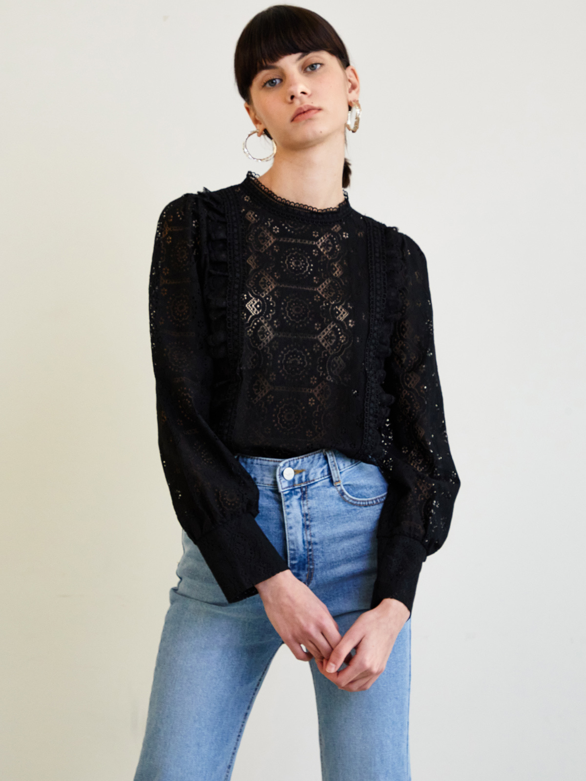 Noah Punching Frill Blouse_Black
