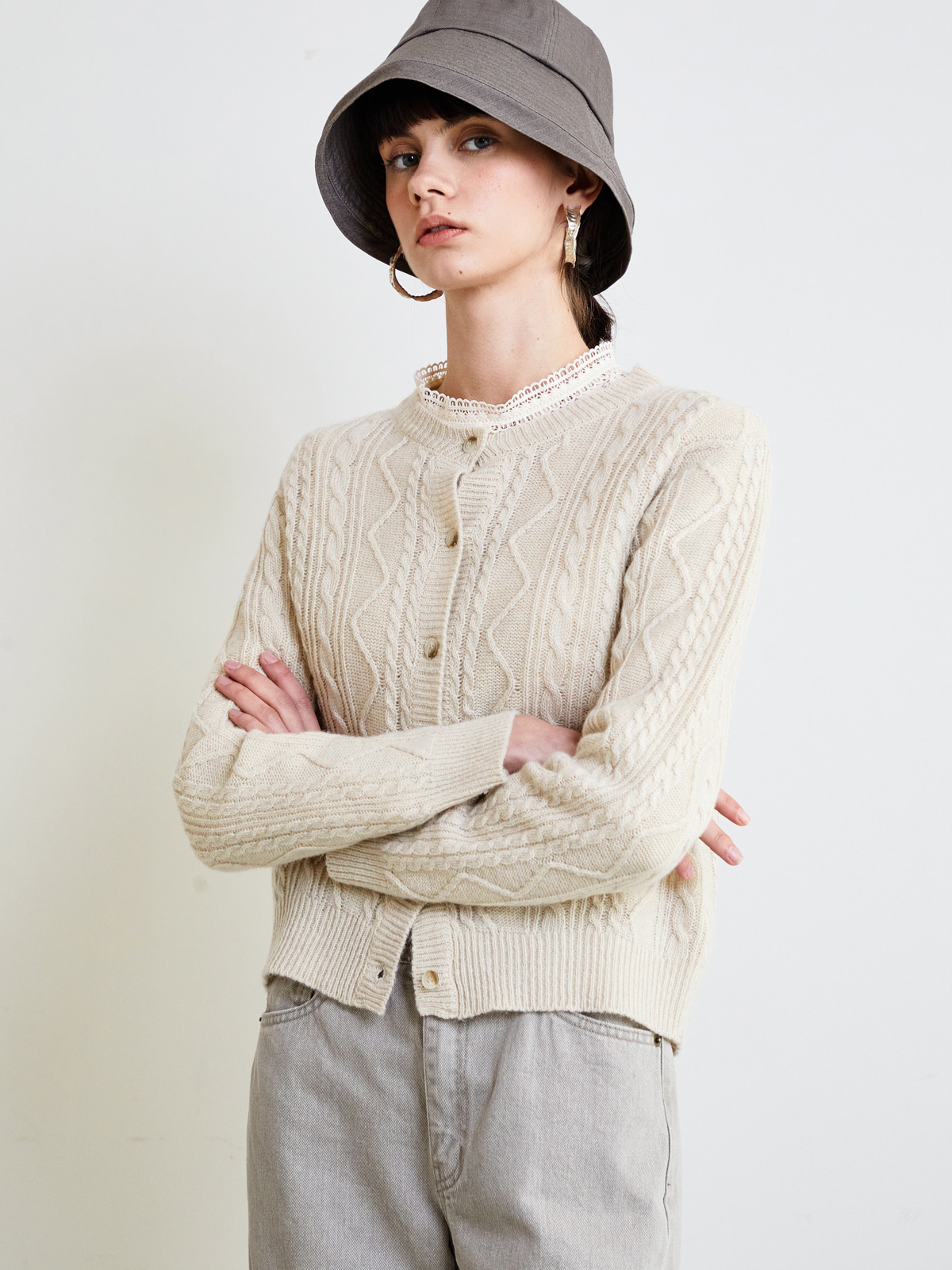 Julie Cable Cardigan_Beige