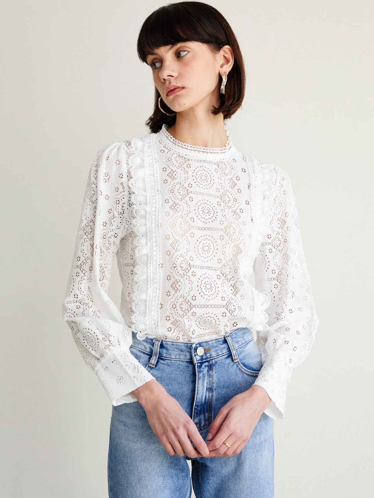 Noah Punching Frill Blouse_White