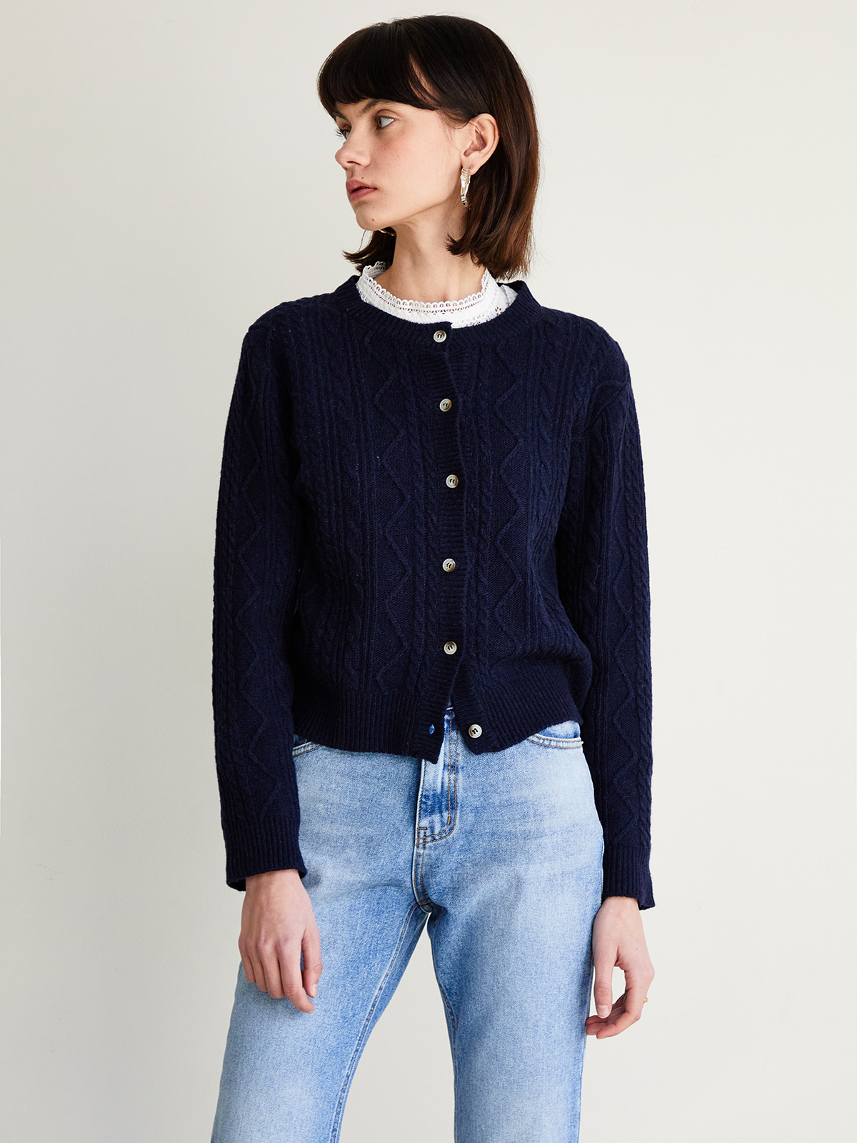 Julie Cable Cardigan_Navy