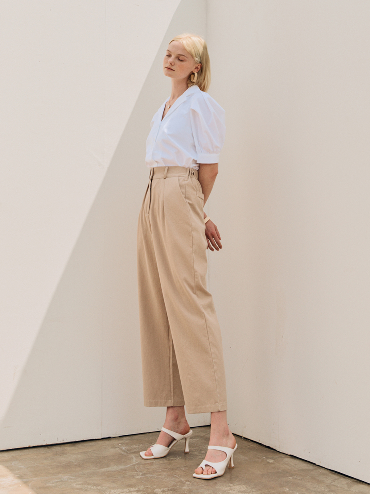 Nancy Pintuck Long Pants_Beige