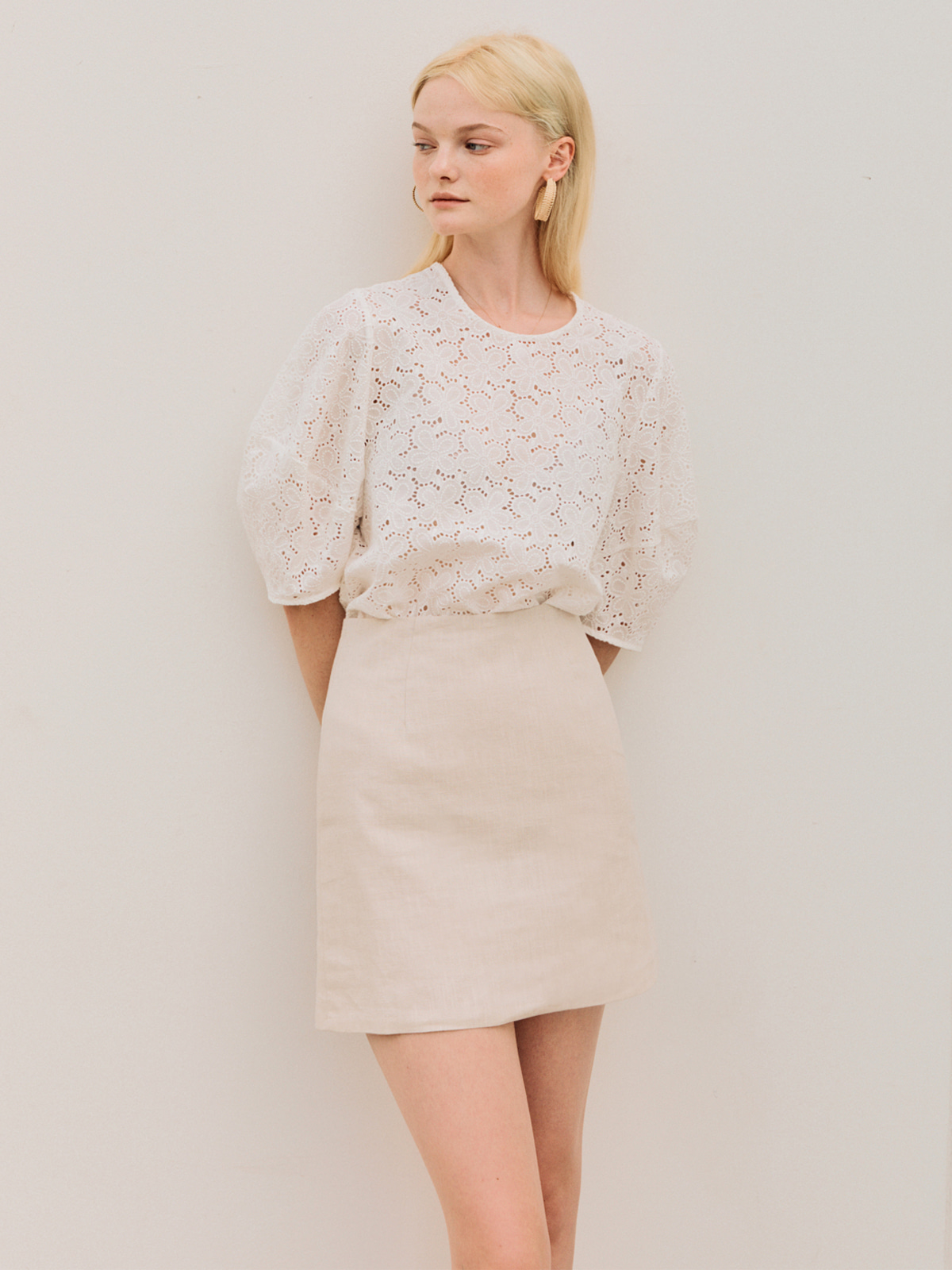 Jenny Linen Mini Skirt_Beige