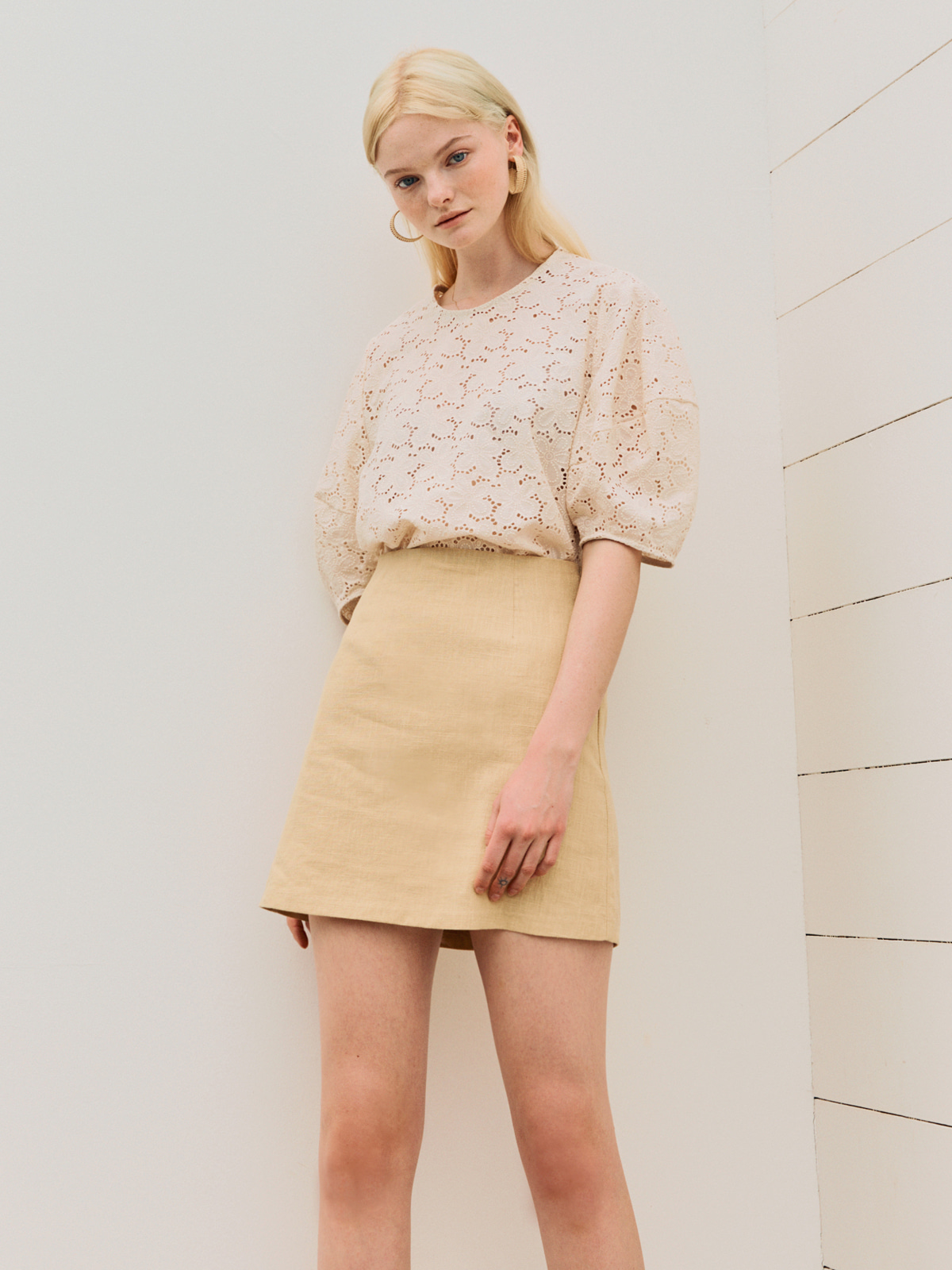Jenny Linen Mini Skirt_Yellow