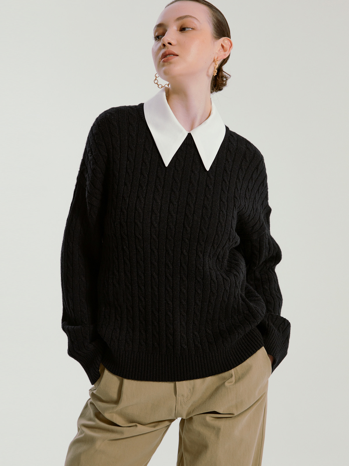 Catherine Cashmere Cable Knit_Black