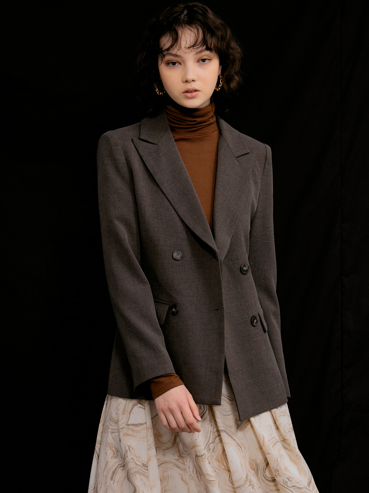 Christine Double Button Jacket_Brown