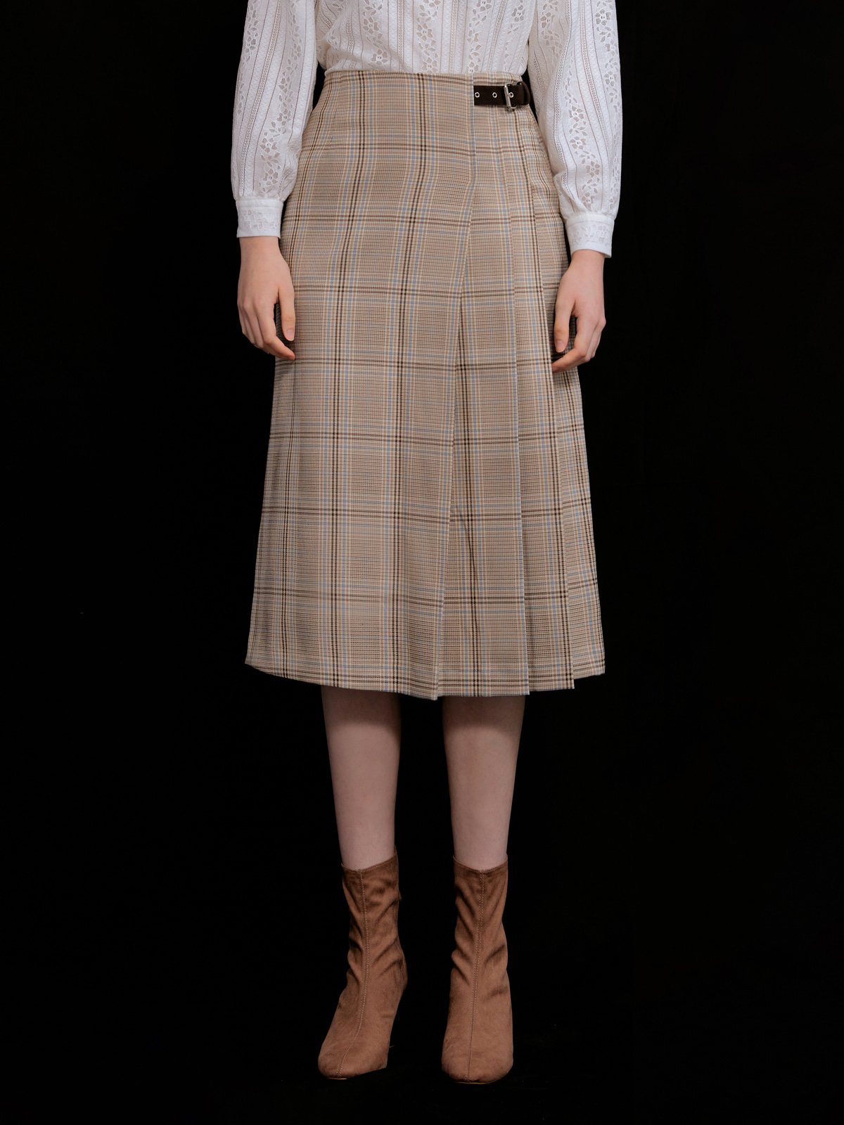 Nicole Check Pleated Skirt