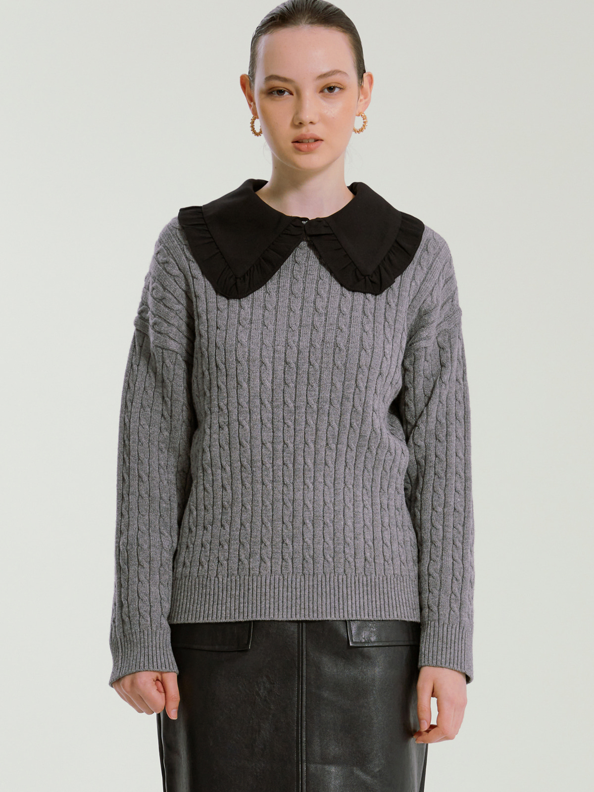 Catherine Cashmere Cable Knit_Grey