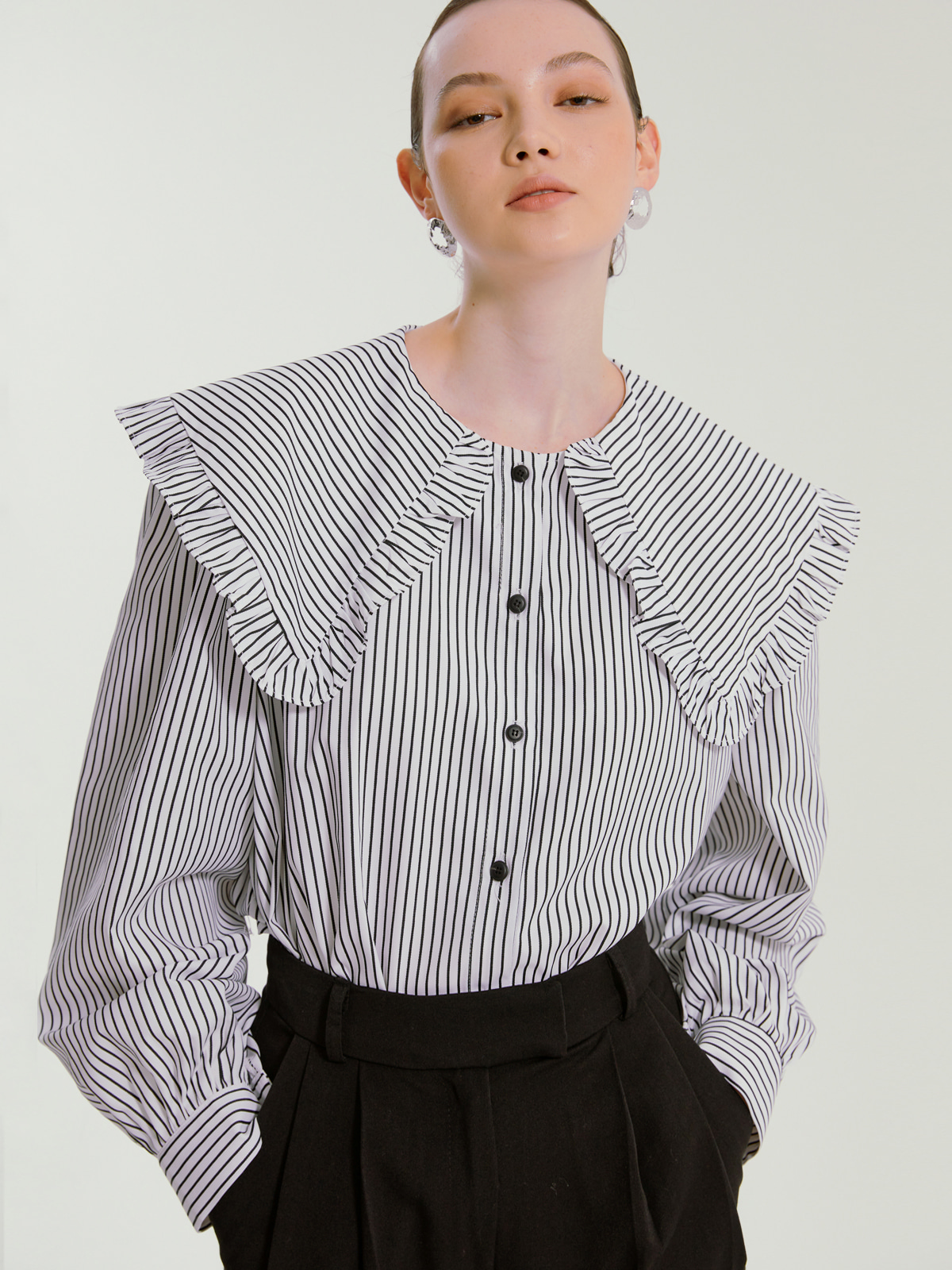 Rachel Big Collar Stripe Blouse