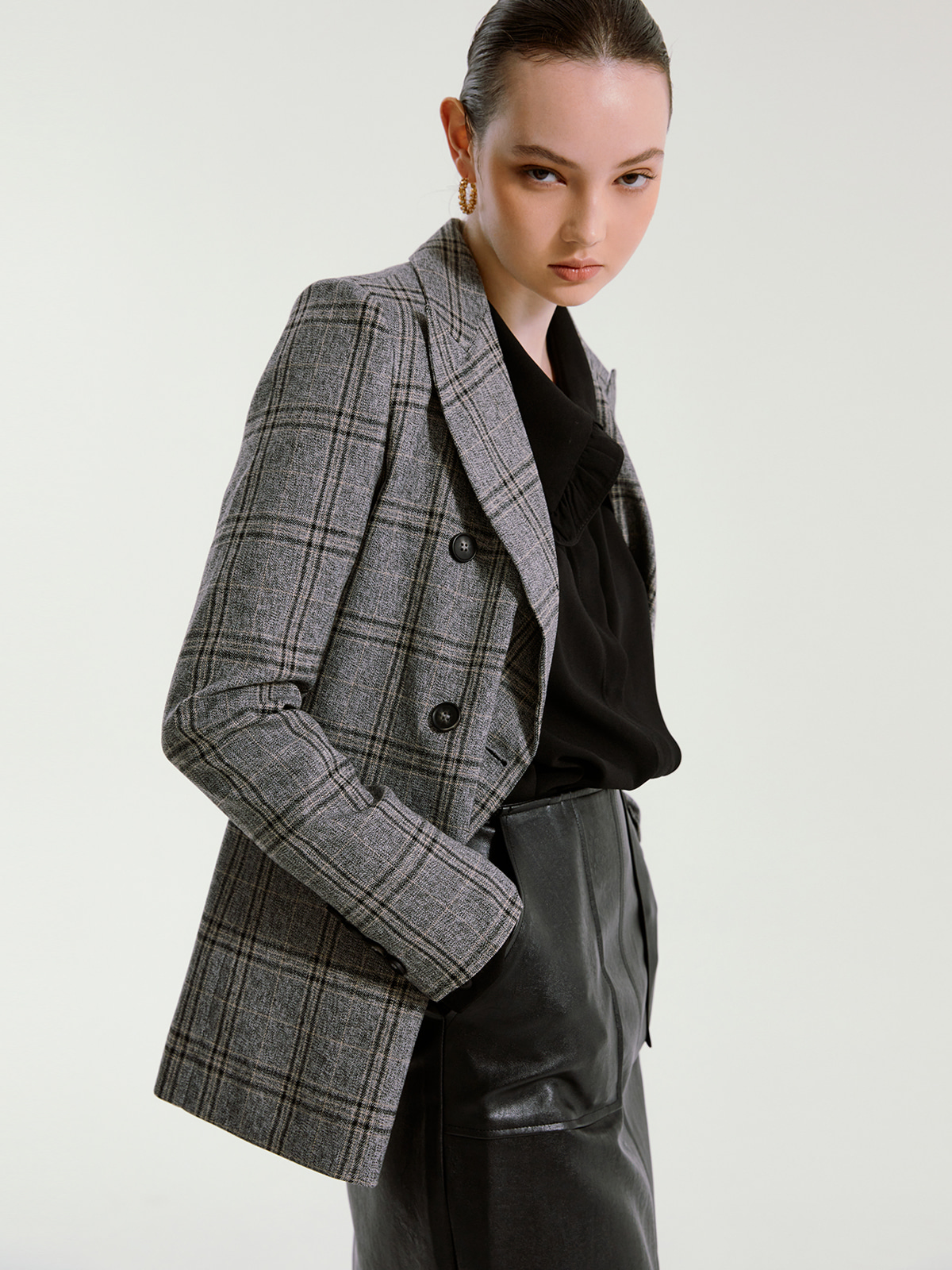 Alexa Check Double Jacket_Grey