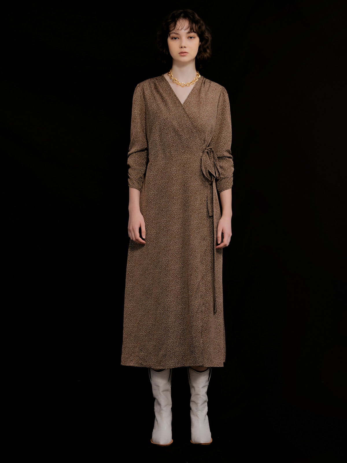 Ashely Long Wrap Dress_Brown