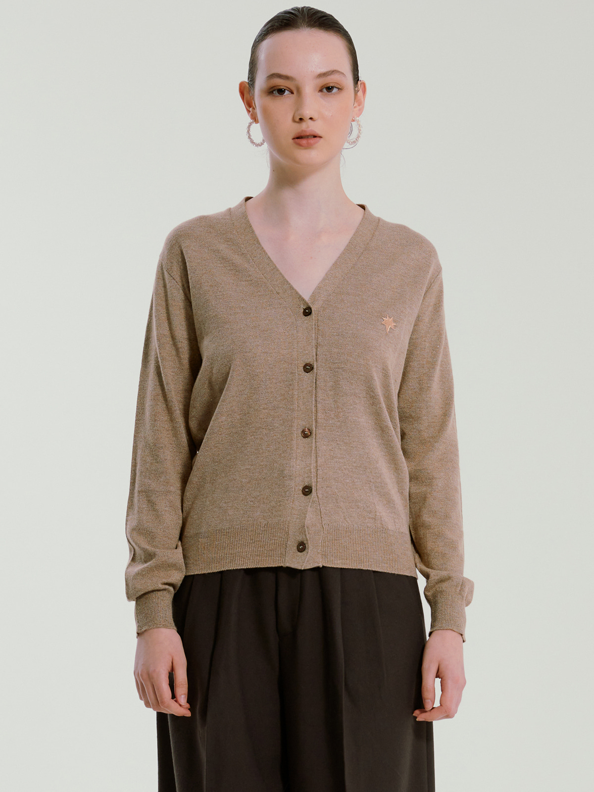 Rhea Cashmere Blended Cardigan_Brown