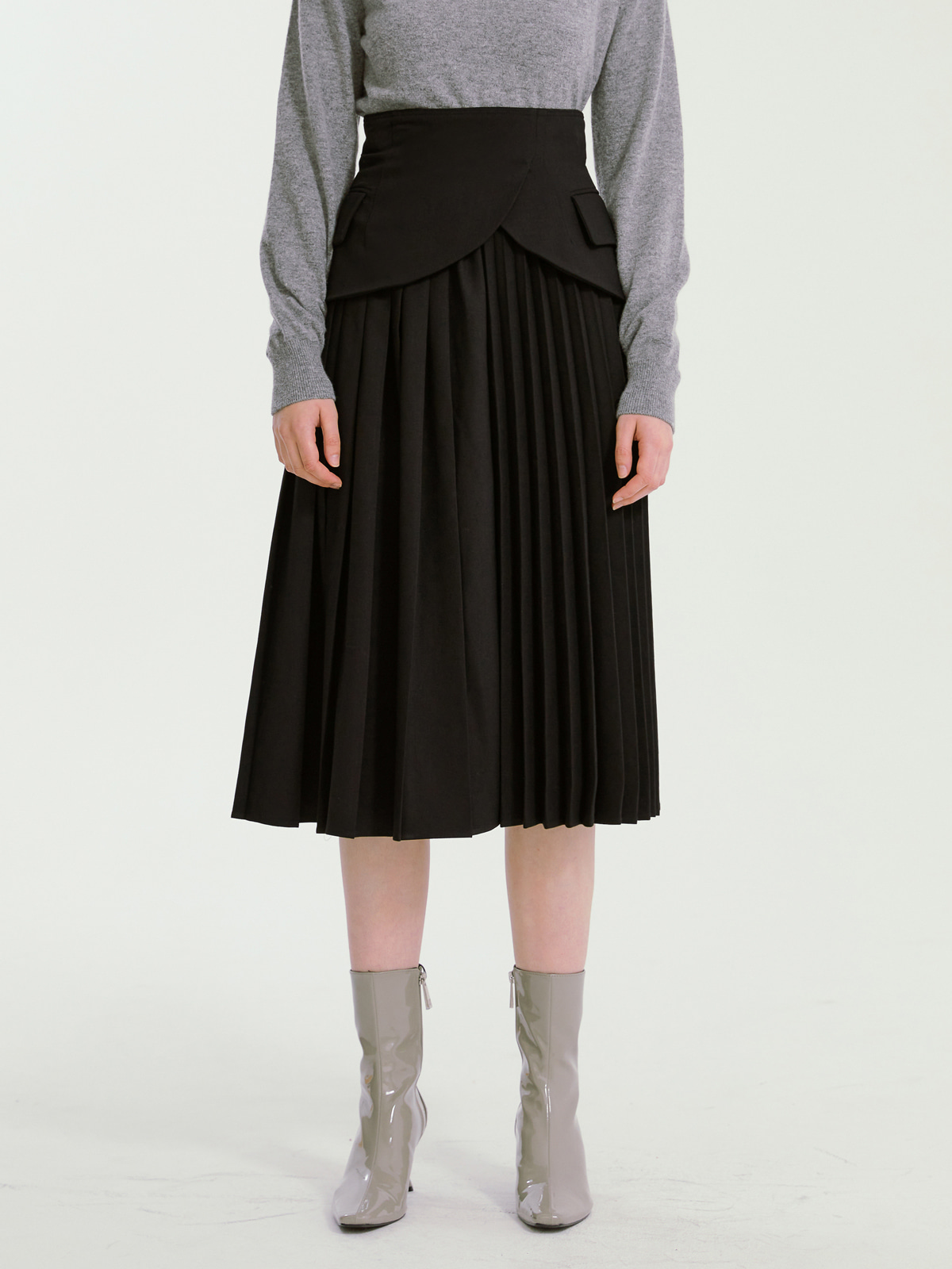 Jocelyn Pleated Skirt_Black