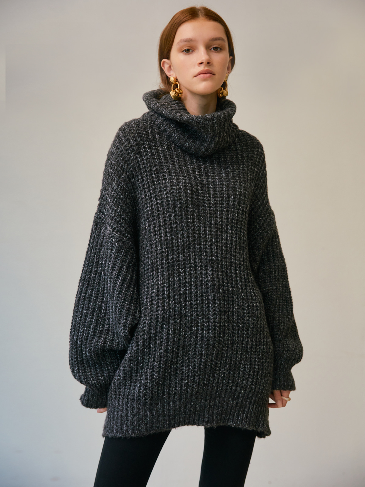 [윈터프리오더15%]Isabel Balloon Turtleneck Knit_Charcoal