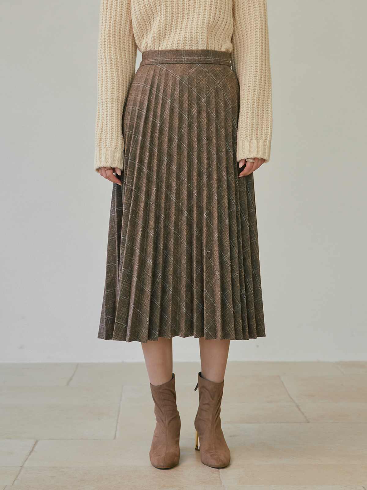 [윈터프리오더15%]Harriet Wool Pleats Skirt_Beige
