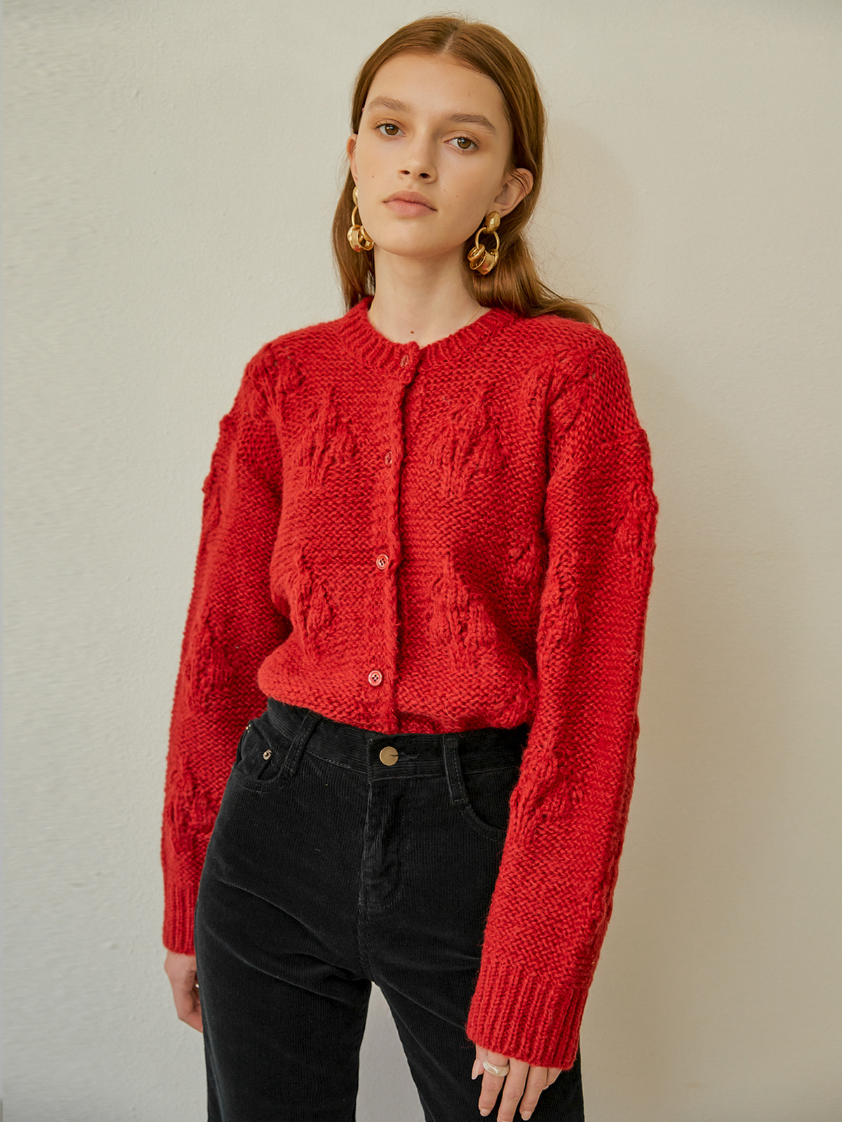 [윈터프로모션20%]Hazel Balloon Knit Cardigan_Red