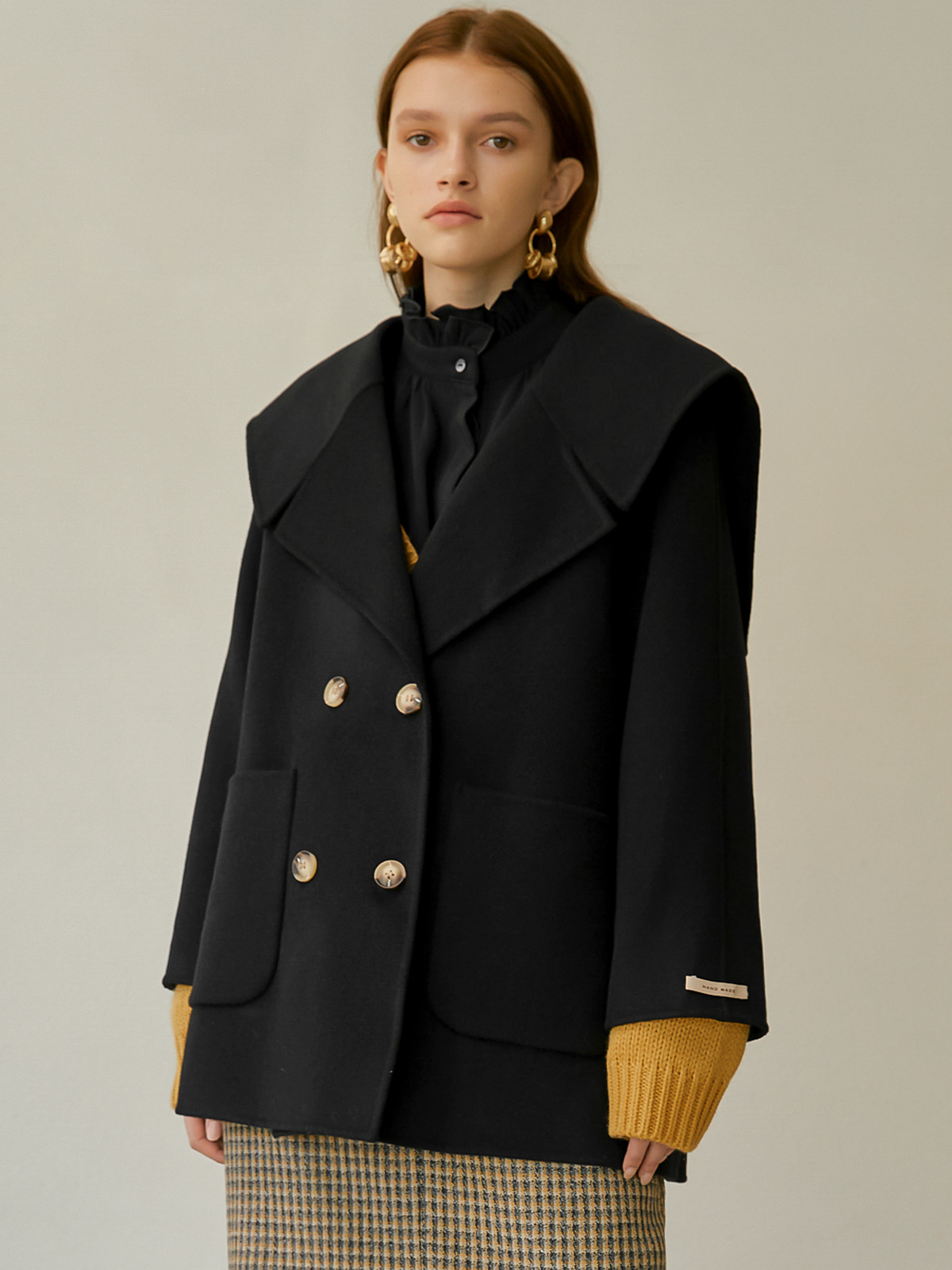 [윈터프리오더15%]Karen Sailor Half Coat_Black