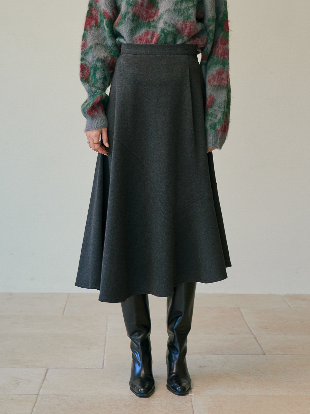 [윈터프리오더15%]Patricia Unbalanced Wool Skirt_Charcoal
