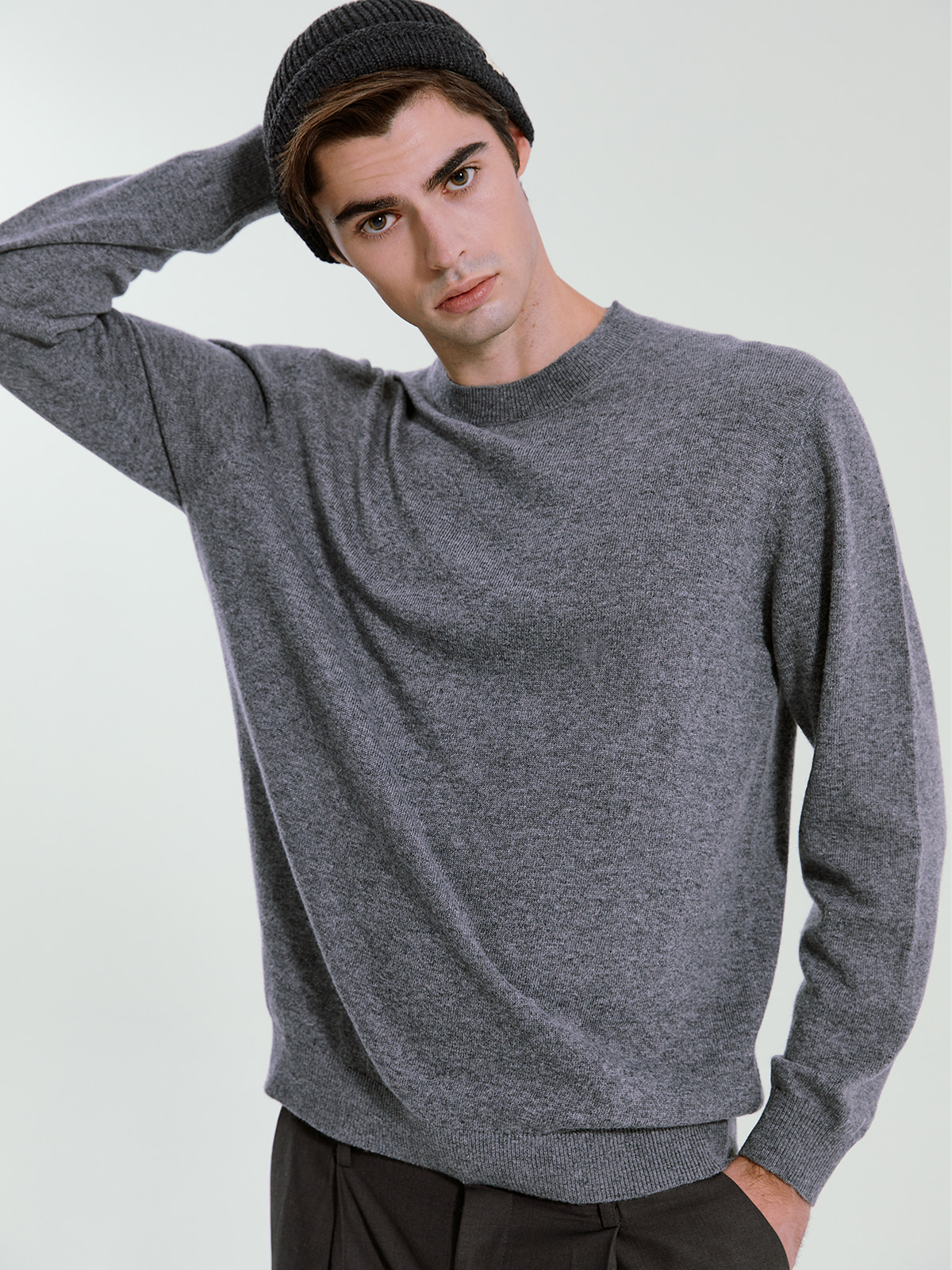 Cashmere Blended Crewneck Knit_Grey