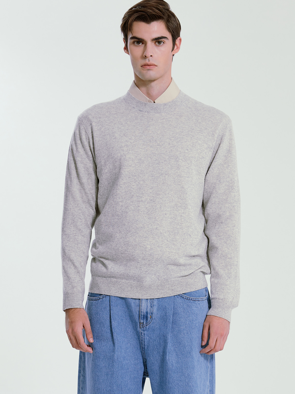 Cashmere Blended Crewneck Knit_L.Grey