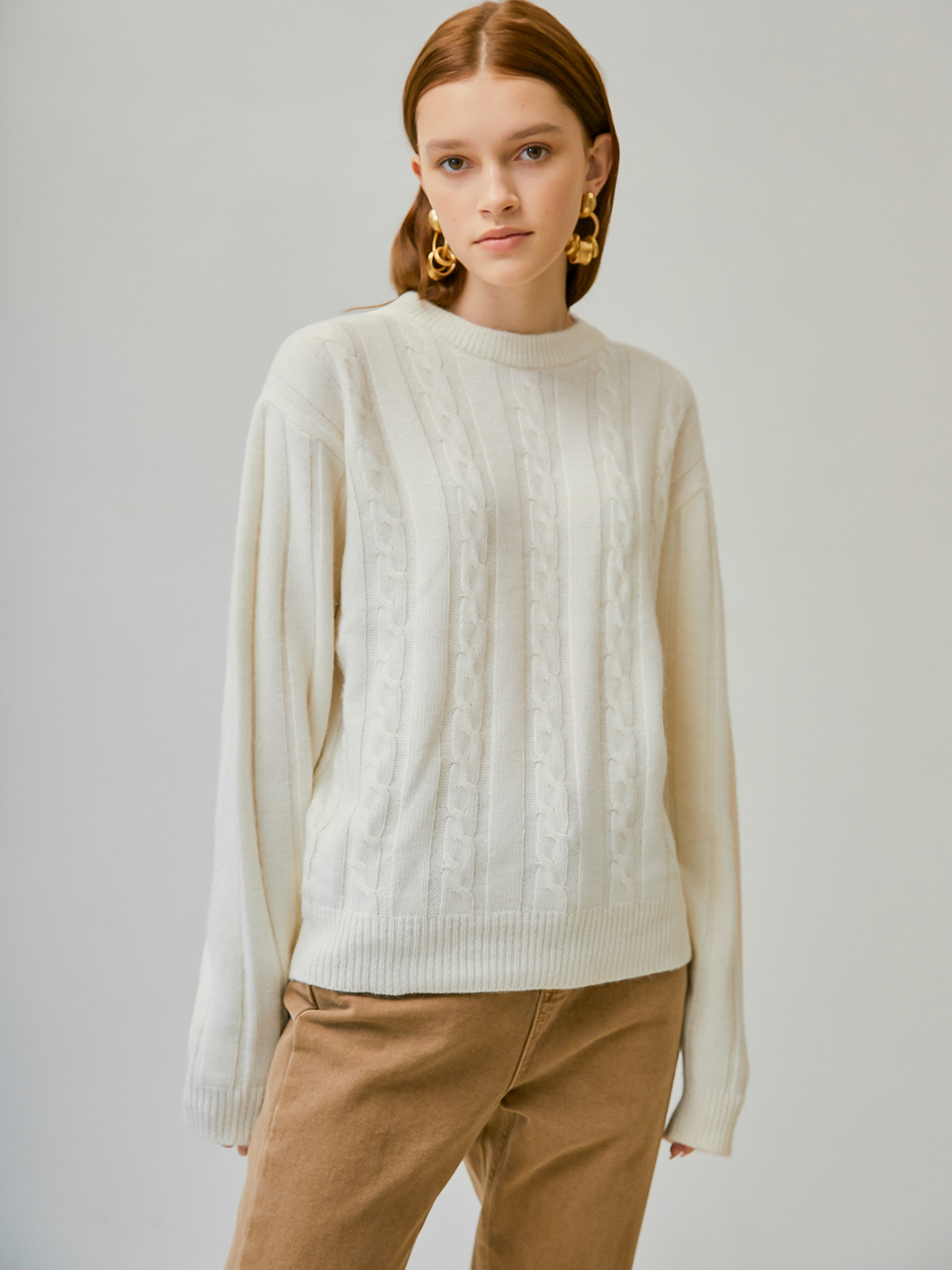 [윈터프리오더15%]Betty Alpaca Cable Knit_Ivory