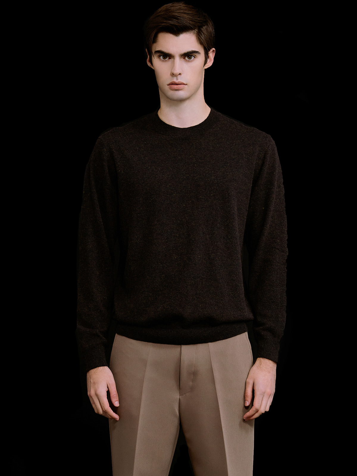 Cashmere Blended Crewneck Knit_Brown