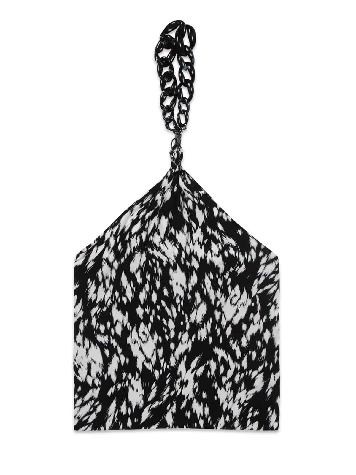 Leopard Rough Chain Scarf Bag_Black